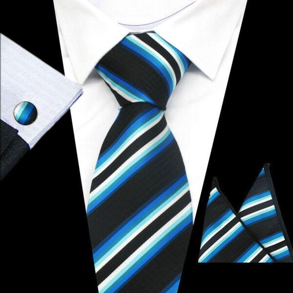 100% Pura Seta Cravatta Pennelli Da Barba & Fazzoletto Set Blu & White Stripes
