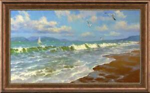 """Hand painted Oil painting original Art Landscape Seascape on canvas 24""""x40"""""""