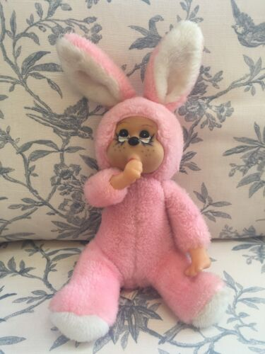 Vintage Bijou Toys Plush Stuffed Pink Bunny Thumb Musical Wind Up Brahms Lullaby