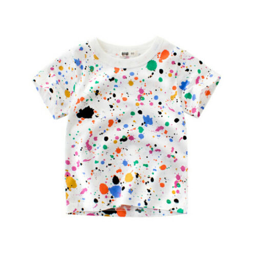 Colorful Boys T-Shirts Kid Baby Girl Children Short Sleeve Tops Cotton Clothes G