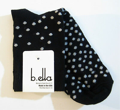 b.ella Ladies Cotton Blend Crew Trouser Socks Piper Polka Dot Blue NEW