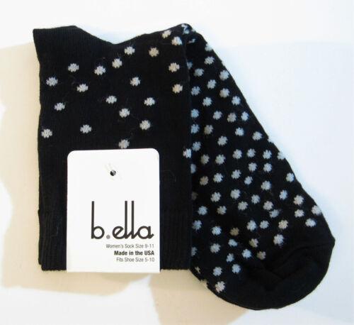 b.ella Ladies Cotton Blend Crew Trouser Socks Piper Polka Dot Black w// Grey  NEW