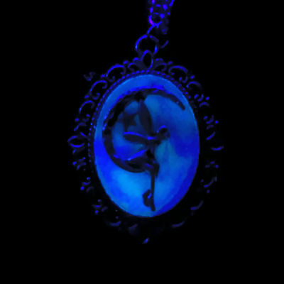 Glow in the Dark Fairy and Moon Celestial Pendant Necklace