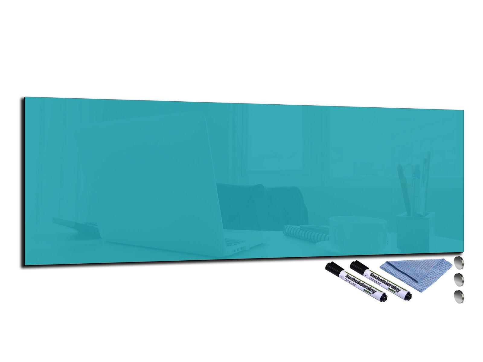 Glas Memo Board Magnetic Heat Resistant Toughened Glas 120x40cm Blau