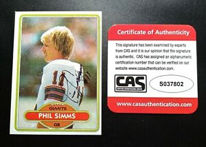 1980 Topps Phil Simms CAS Cert Signed Autograph NY Giants Rookie Card NICE