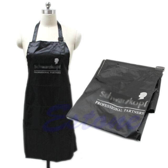 Black Adjustable Apron Bib Uniform With 2 Pockets Hairdresser Salon Hair Tool