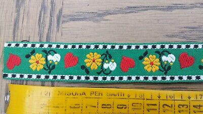 Antik uralte Borte Seidengarn Blüten Muster Baumwolle 13mm  ca 1920