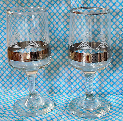 2 vintage sherry glasses traditional glass ware etched pattern silver band pair