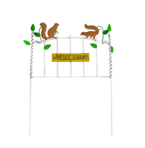 """Welcome Sign with Squirrels Miniature Fairy Garden Dollhouse 10.5/"""" x 8.5/"""""""