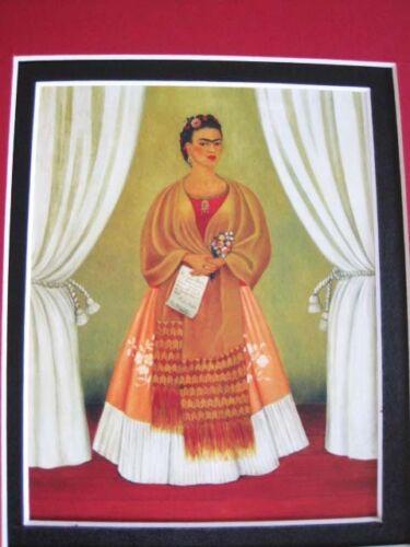Frida Kahlo Self Portrait 1937 Tribute to Leon Trotsky framed matted print 8x10