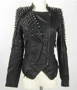 Womens-pu-Punk-Spike-Studded-Shoulder-Leather-Jacket-Coat-Motorcycle-Jacket
