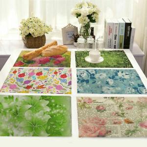 Cotton Dandelion Linen Placemat Print Insulation Table Kitchen Mat Home Dining