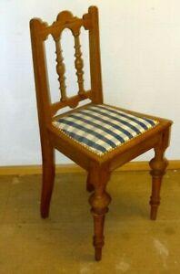 Details zu Historismus Stuhl 19. Jh.Sitz neu gepolstert Füße gedreckselt