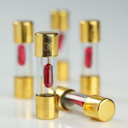 5 PACK AGU FUSE 35A AMP GOLD PLATED GLASS WITH BLOWN FUSE LED LIGHT INDICATOR