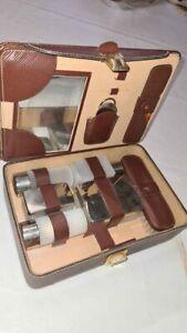 Set da viaggio Vintage / Kit antiquariato da collezione - in vera pelle