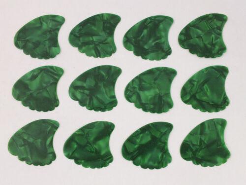 SHARK FIN PLECTRUMS PICKS 12 Green Pearl in 3 Gauges Celluloid Sharkfin