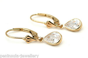 9ct-Gold-CZ-Teardrop-LeverBack-Earrings-Gift-Boxed-Made-in-UK