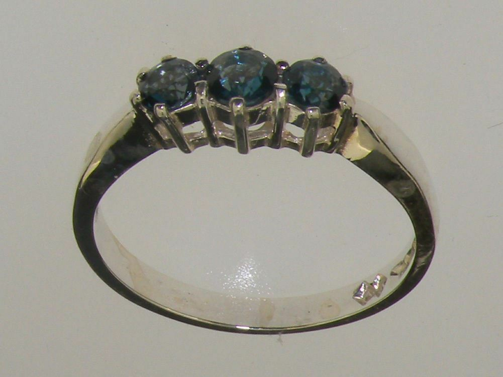 10ct White gold Natural London bluee Topaz Womens Trilogy Ring - Sizes J to Z