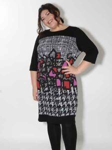 20% Kleid von Doris Streich Gr. 48 50 52 Jersey Langarm schwarz bunt grafisch