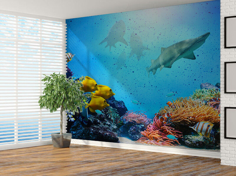 Underwater Coral reef, colorful fish group photo Wallpaper wall mural (19290358)
