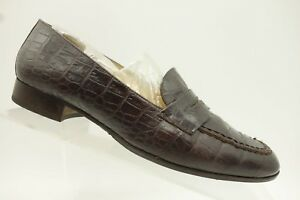 Ralph-Lauren-Italy-Brown-Crocodile-Print-Leather-Penny-Loafer-Shoe-Womens-7-5-B