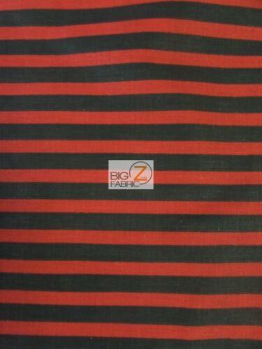 """P149 1//2/"""" STRIPE STRIPED//STRIPE POLY COTTON PRINT FABRIC-Black//Red-POLYCOTTON"""
