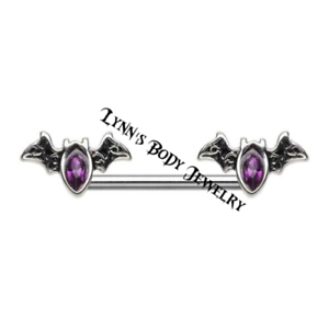 14g Surgical Steel Nipple Barbell Rings PAIR Bat Outta Hell Purple CZ