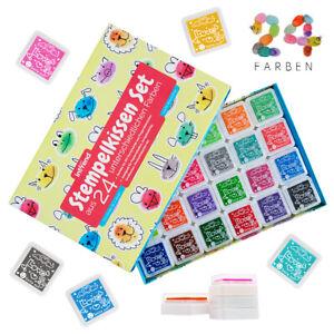 Stempelkissen-Set-24-wasserloesliche-Farben-Fingerabdruck-Fingerfarbe-int-rend