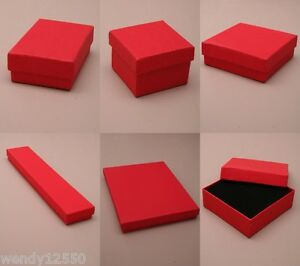 PACK-OF-12-CHRISTMAS-RED-GIFT-BOXES-WITH-BLACK-FLOCKED-INSERT-CHEAPEST-ON-EBAY