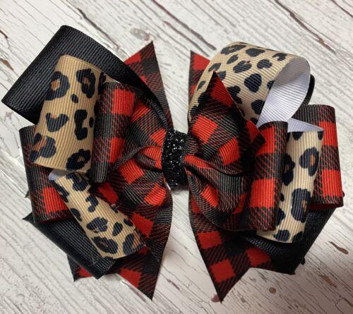 Buffalo Checked Stacked Boutique Hair bow Toddler Girl Christmas Cheetah Print