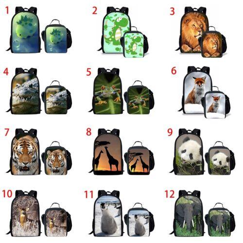 Fox Penguin Girls School Backpack Set Lunch Box Boys Rucksack Dinosaur Satchel