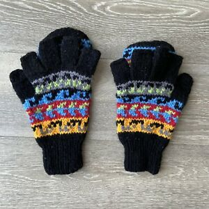 Vintage-Fingerless-Convertible-Knit-Bolivia-Lamb-Wool-Gloves-Mittens-Black-Blue