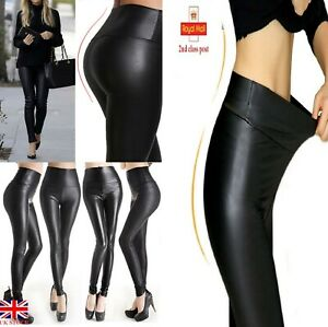 Ladies-Black-Faux-Leather-Leggings-Wet-Look-Shiny-Stretchy-Tight-Pant-High-Waist