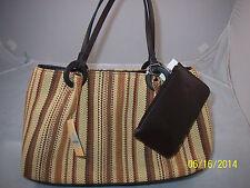 Carryland Fashion Straw Bag Multi Color Wood Rings Magnetic Closure Brown