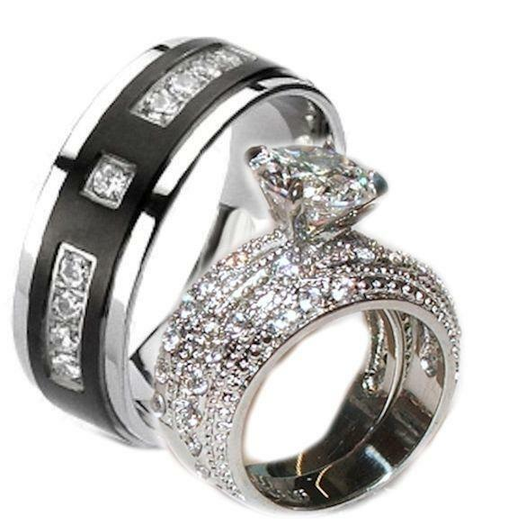 His and Hers Wedding Rings Cz Ring Set Stainless Steel & Black Plated Titanium