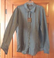 Tasso Ella Dress Shirt Men's Gray Plaid Flannel Size Large