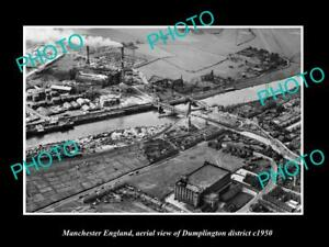 OLD-LARGE-HISTORIC-PHOTO-MANCHESTER-ENGLAND-AERIAL-VIEW-OF-DUMPLINGTON-c1950