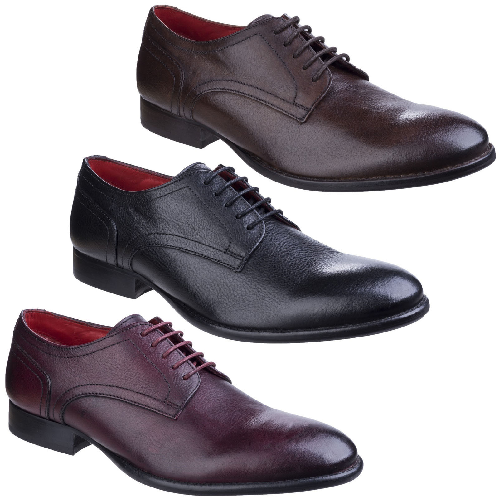 Base London Ford Grain Mens Formal Leather Lace Up Smart Casual Shoes