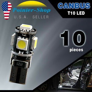 10x White T10 Wedge Canbus ERROR FREE 5050 5SMD Car LED Light bulbs W5W 194 168 6874783687956