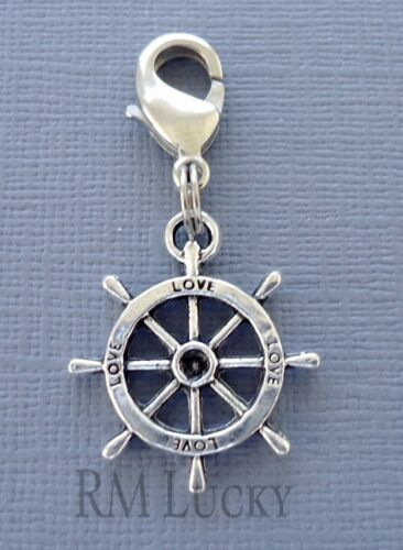 Ship/'s wheel Pendant Dangle Clip On Charm  Fits Link Chain Floating locket C175