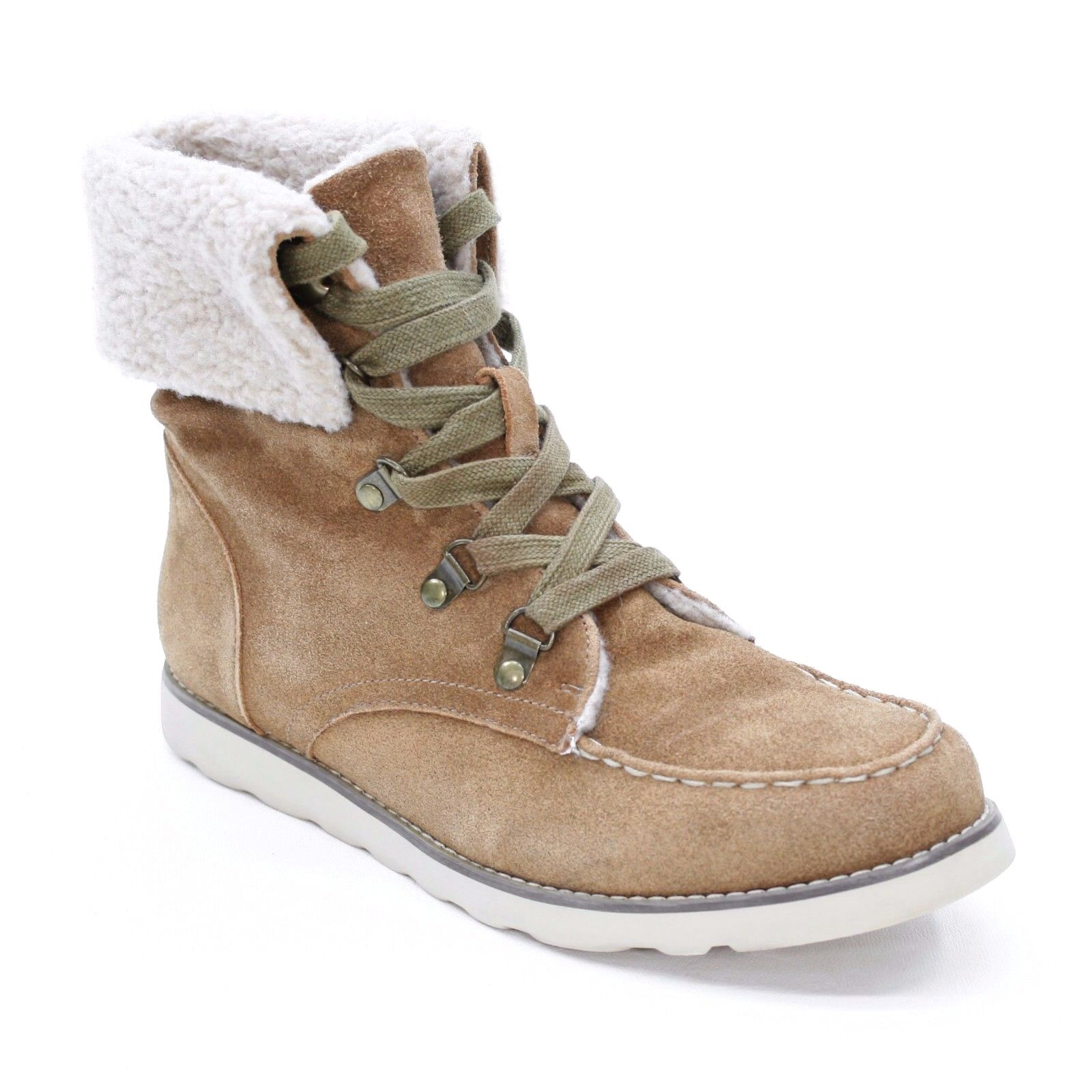Aldo Ladies 40 B (about 9.5 US) Laue Moc Suede Leather Tan Ankle Fold Top Boots