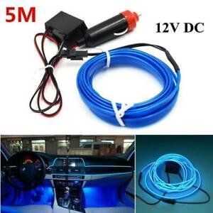 12V-5M-Car-Interior-Decorative-LED-Wire-Atmosphere-Cold-Light-Blue-Strip-Lamp-UK