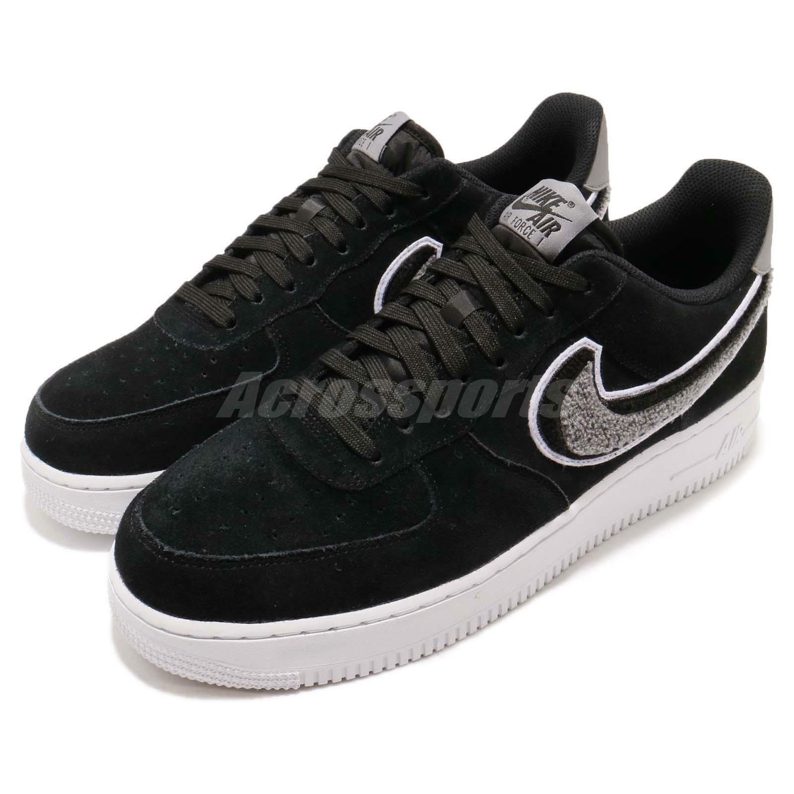 Nike Air Force 1 07 LV8 AF1 Chenille Swoosh Noir Men Casual Chaussures 823511-014