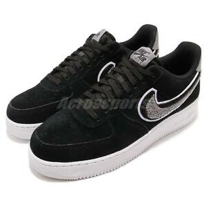 3bc189447ed9f2 Nike Air Force 1 07 LV8 AF1 Chenille Swoosh Black Men Casual Shoes ...