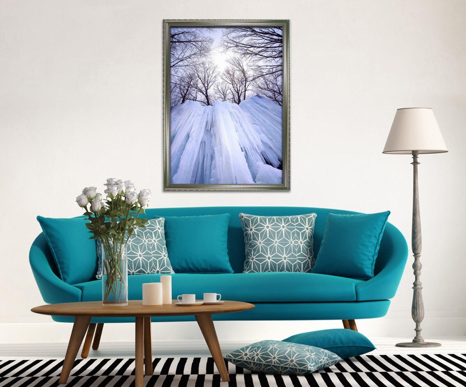 3D Eisklippe Baum 2 Gerahmt Poster Daheim Dekor Drucken Malerei Kunst AJ DE
