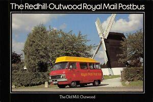 Postcard-1979-FDI-Redhill-to-Outwood-Royal-Mail-Postbus-Windmill-Dodge-MINT-38X