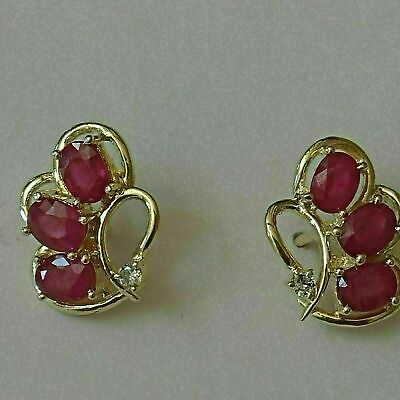 14k Yellow Gold Finish 2 00 Ct Oval Cut Red Ruby Diamond Unique Stud Earrings Ebay