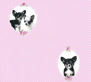 Kindertapete-rosa-Polka-Dots-mit-Hunden-in-schwarz-weiss-Blumen-Pink-Little-Stars