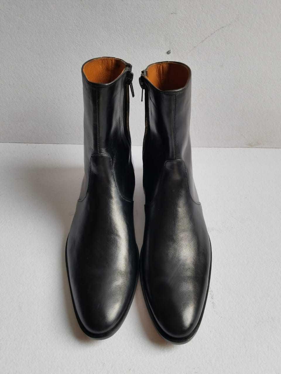 Fatto a mano uomo nero al polpaccio Cerniera DRESSY Alla Caviglia Formale Stivali Invernali