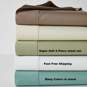 """Colors Free !! 1000TC New Bed Sheet Set /& Deep Pocket 15/"""" Inche Solid Limited !"""